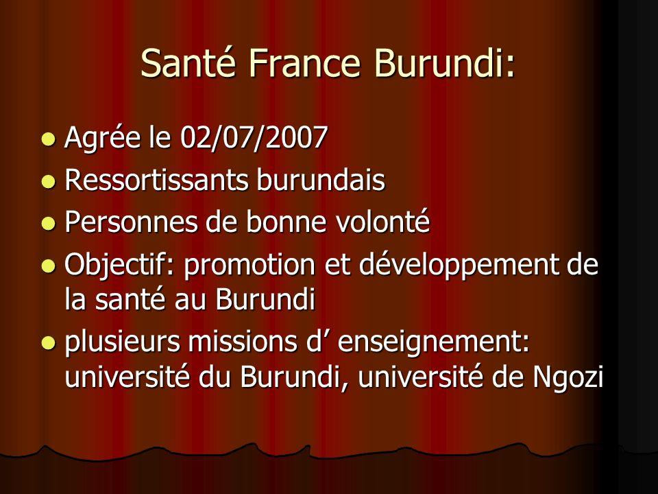Santé France Burundi: Agrée le 02/07/2007 Agrée le 02/07/2007 Ressortissants burundais Ressortissants burundais Personnes de bonne volonté Personnes d