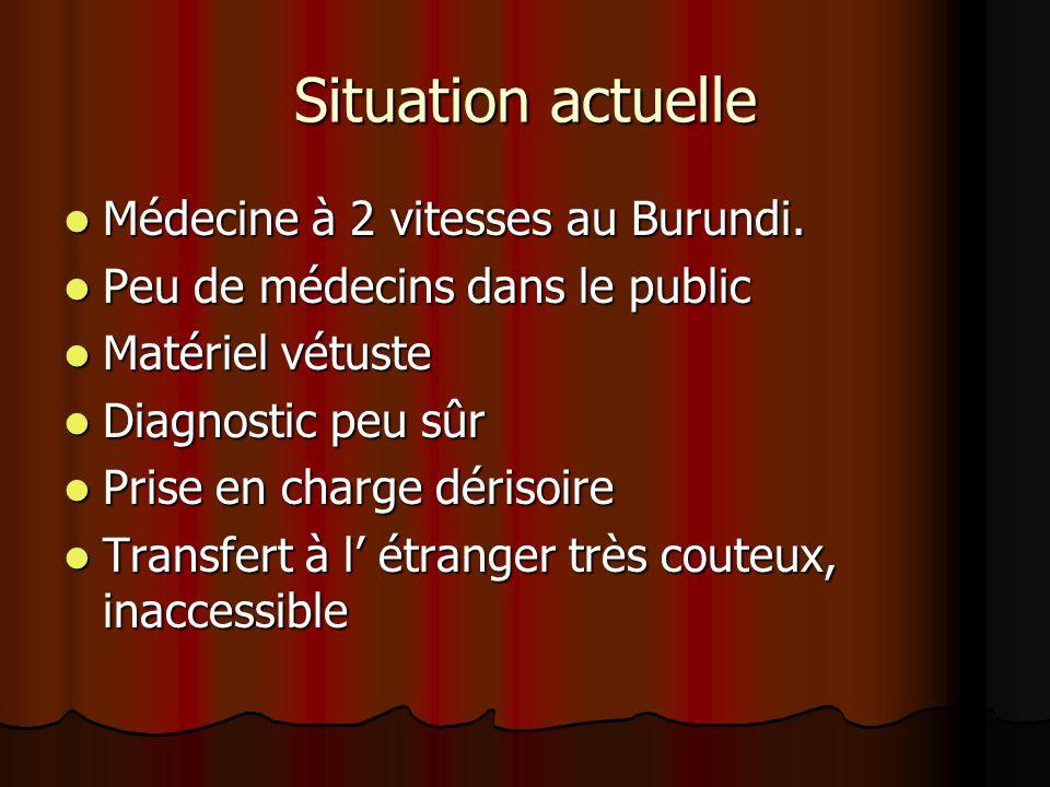 Situation actuelle Médecine à 2 vitesses au Burundi. Médecine à 2 vitesses au Burundi. Peu de médecins dans le public Peu de médecins dans le public M