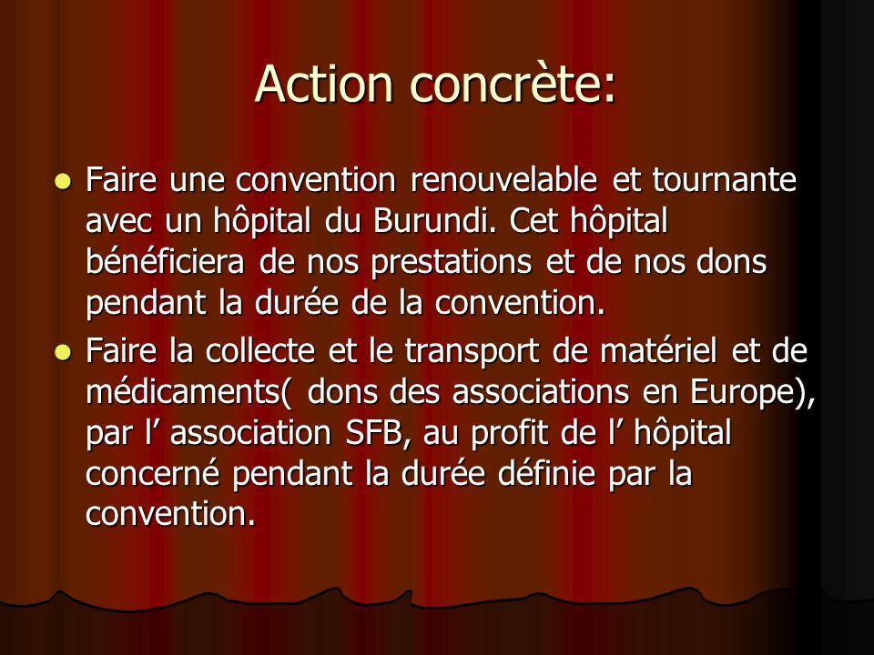 Action concrète: Faire une convention renouvelable et tournante avec un hôpital du Burundi. Cet hôpital bénéficiera de nos prestations et de nos dons