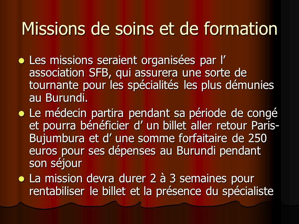 Missions de soins et de formation Les missions seraient organisées par l association SFB, qui assurera une sorte de tournante pour les spécialités les