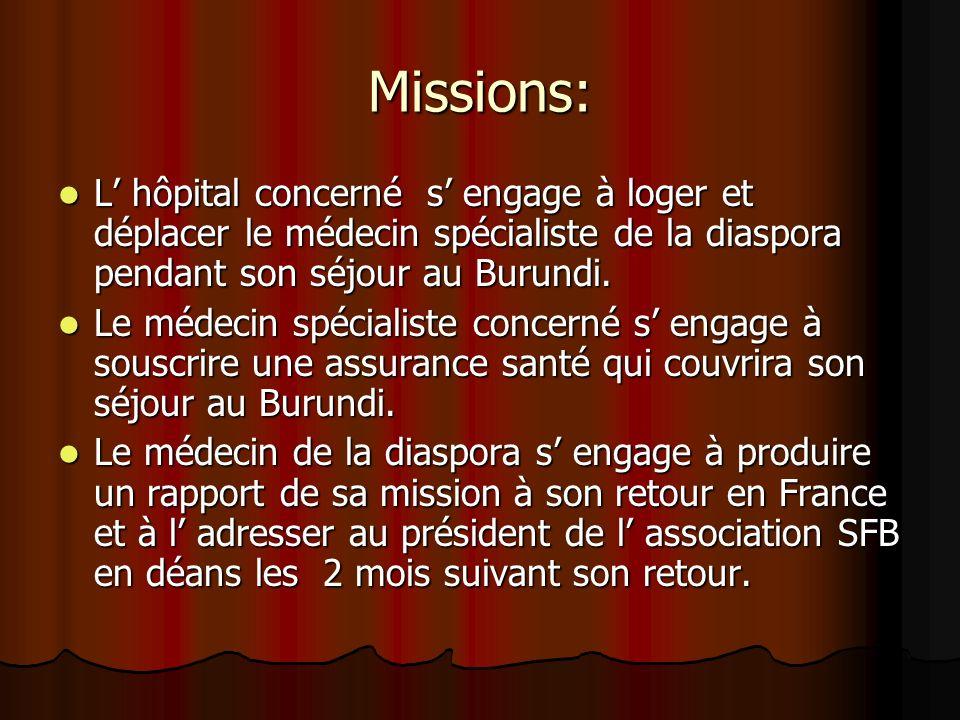 Missions: L hôpital concerné s engage à loger et déplacer le médecin spécialiste de la diaspora pendant son séjour au Burundi. L hôpital concerné s en