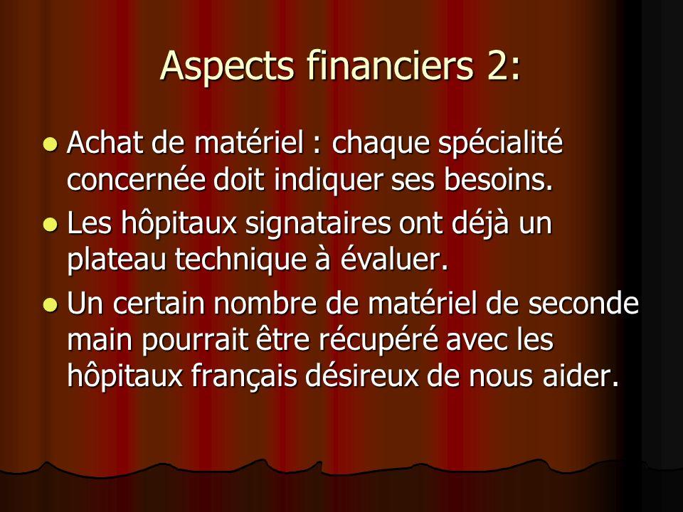 Aspects financiers 2: Achat de matériel : chaque spécialité concernée doit indiquer ses besoins. Achat de matériel : chaque spécialité concernée doit