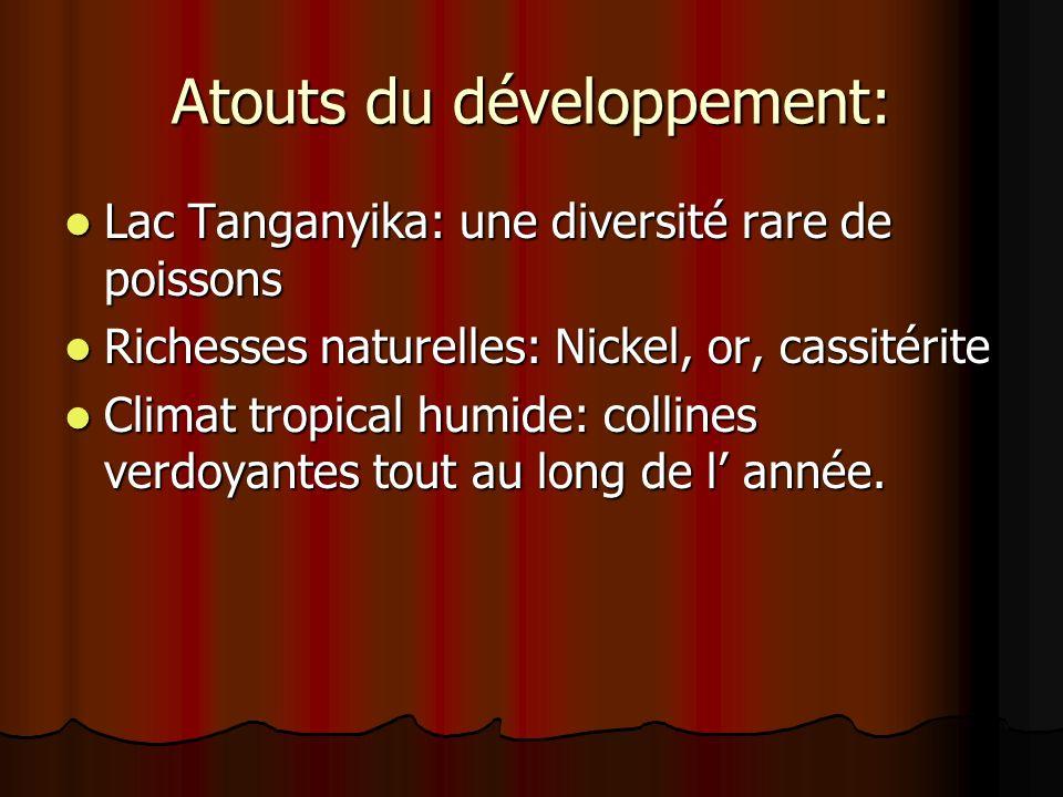 Atouts du développement: Lac Tanganyika: une diversité rare de poissons Lac Tanganyika: une diversité rare de poissons Richesses naturelles: Nickel, o