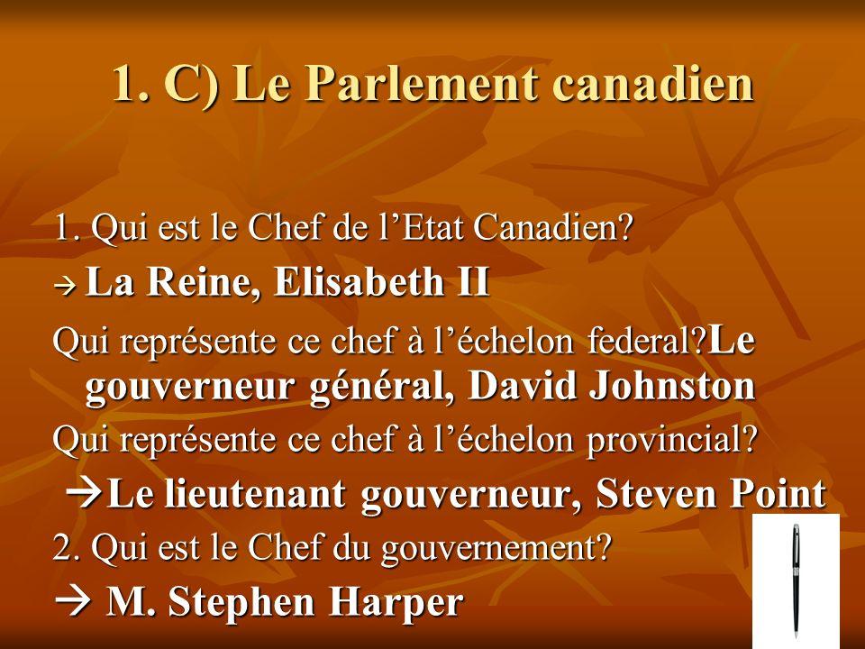 1. C) Le Parlement canadien 1. Qui est le Chef de lEtat Canadien.
