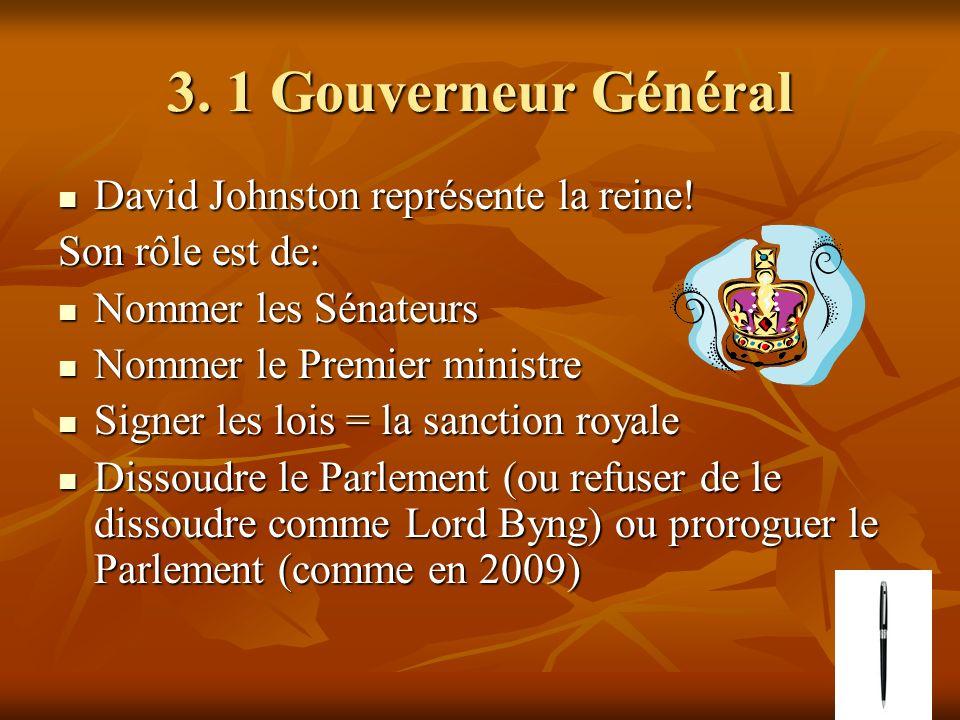 3. 1 Gouverneur Général David Johnston représente la reine.