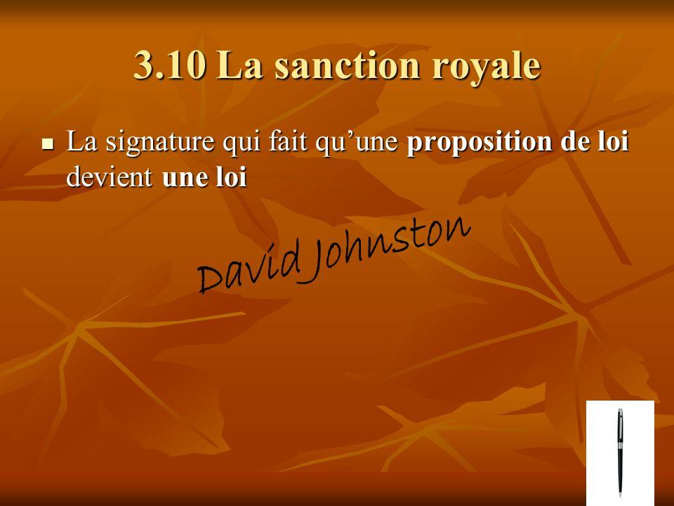 3.10 La sanction royale La signature qui fait quune proposition de loi devient une loi La signature qui fait quune proposition de loi devient une loi