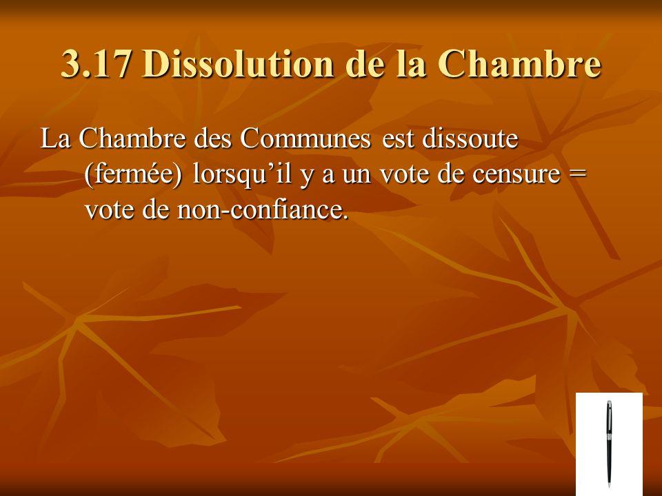 3.17 Dissolution de la Chambre La Chambre des Communes est dissoute (fermée) lorsquil y a un vote de censure = vote de non-confiance.