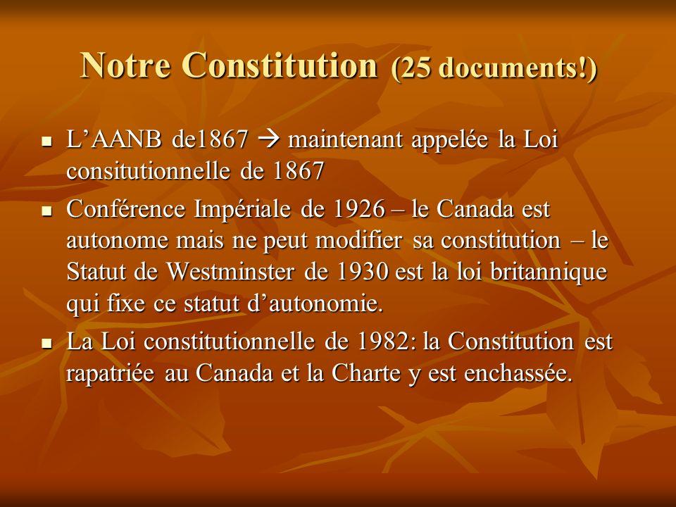 Notre Constitution (25 documents!) LAANB de1867 maintenant appelée la Loi consitutionnelle de 1867 LAANB de1867 maintenant appelée la Loi consitutionnelle de 1867 Conférence Impériale de 1926 – le Canada est autonome mais ne peut modifier sa constitution – le Statut de Westminster de 1930 est la loi britannique qui fixe ce statut dautonomie.