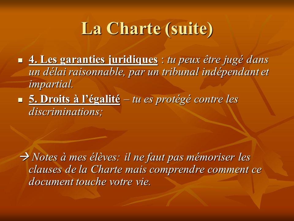 La Charte (suite) 4.