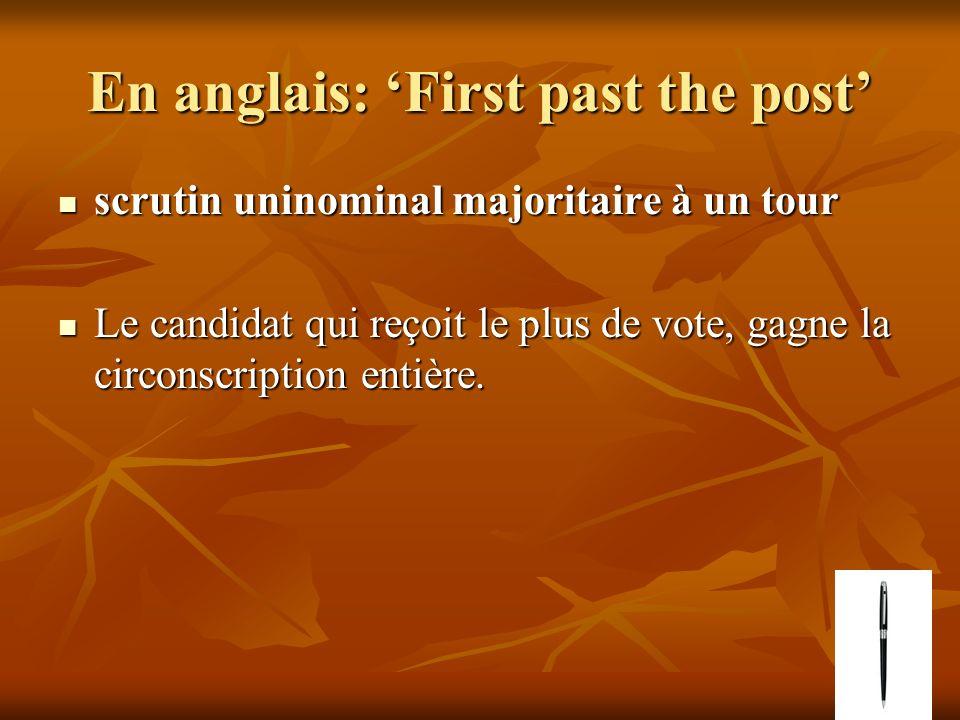 En anglais: First past the post scrutin uninominal majoritaire à un tour scrutin uninominal majoritaire à un tour Le candidat qui reçoit le plus de vote, gagne la circonscription entière.