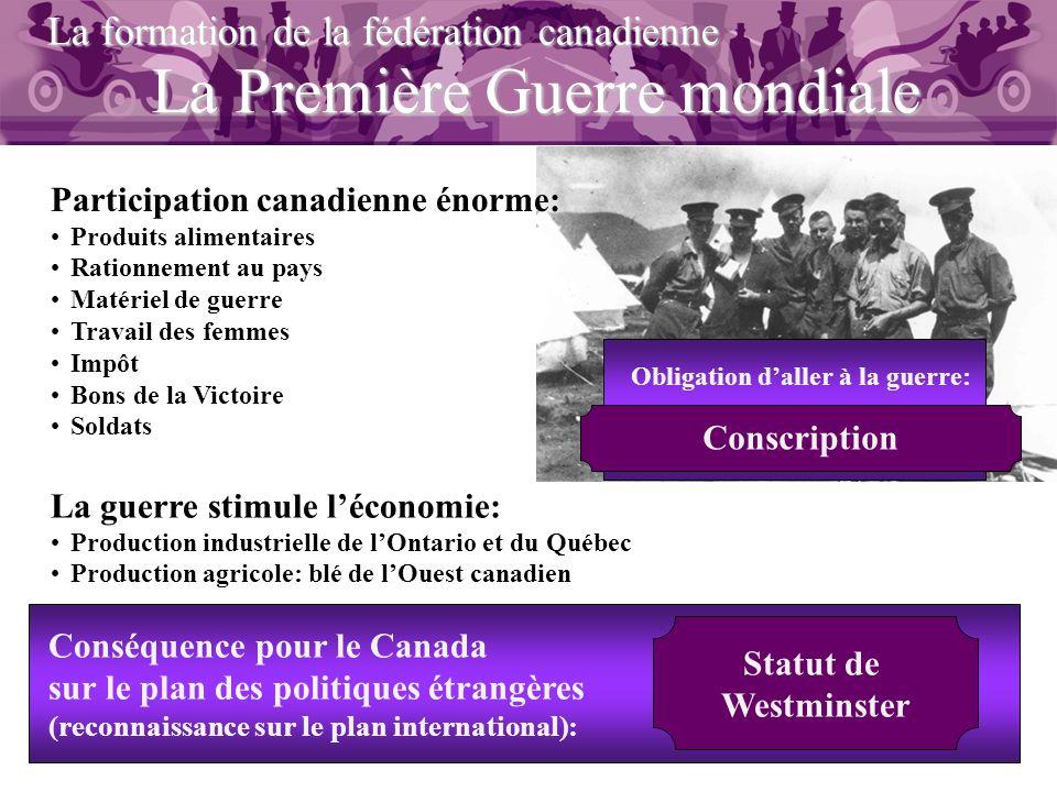 La Première Guerre mondiale La formation de la fédération canadienne Participation canadienne énorme: Produits alimentaires Rationnement au pays Matér