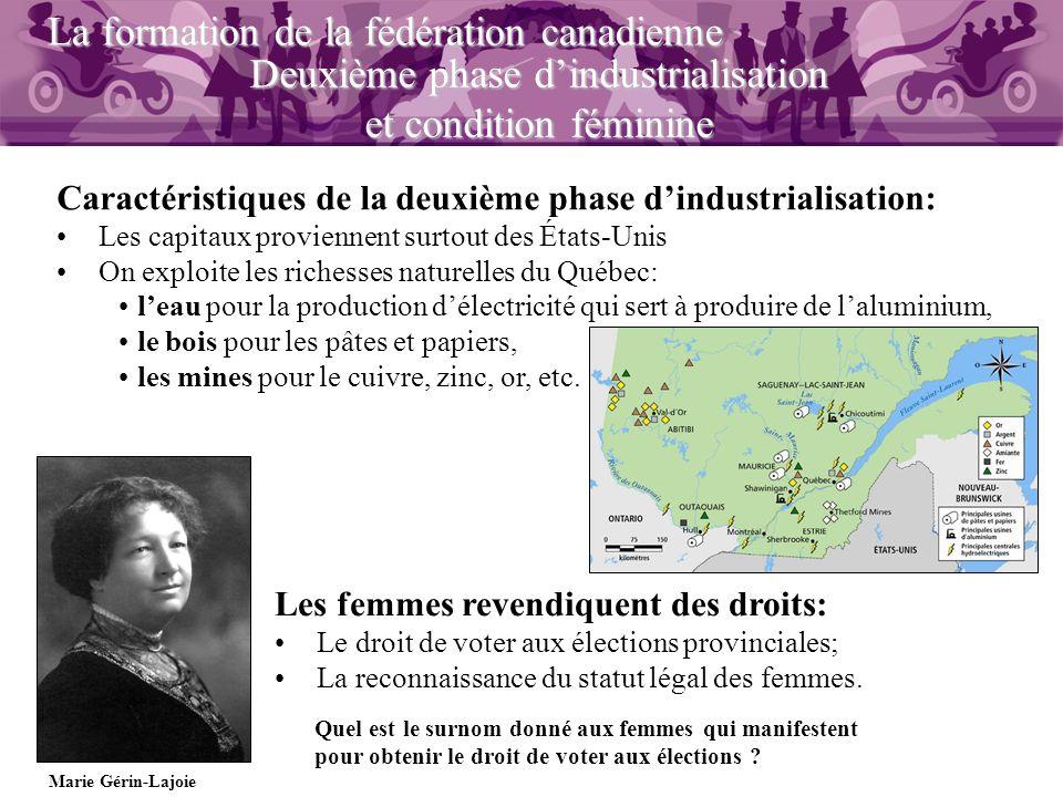 Deuxième phase dindustrialisation et condition féminine La formation de la fédération canadienne Caractéristiques de la deuxième phase dindustrialisat