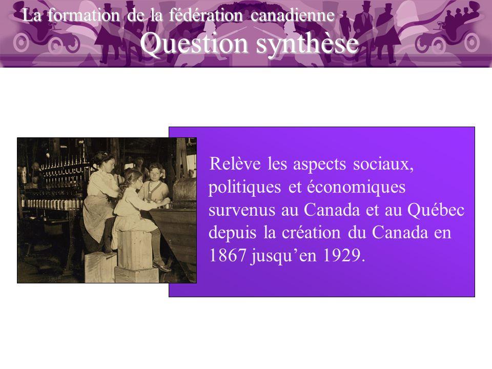 Question synthèse La formation de la fédération canadienne Relève les aspects sociaux, politiques et économiques survenus au Canada et au Québec depui