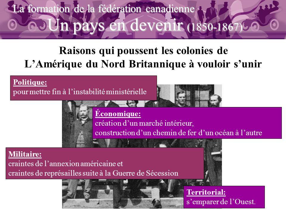 Un pays en devenir (1850-1867) La formation de la fédération canadienne Raisons qui poussent les colonies de LAmérique du Nord Britannique à vouloir s