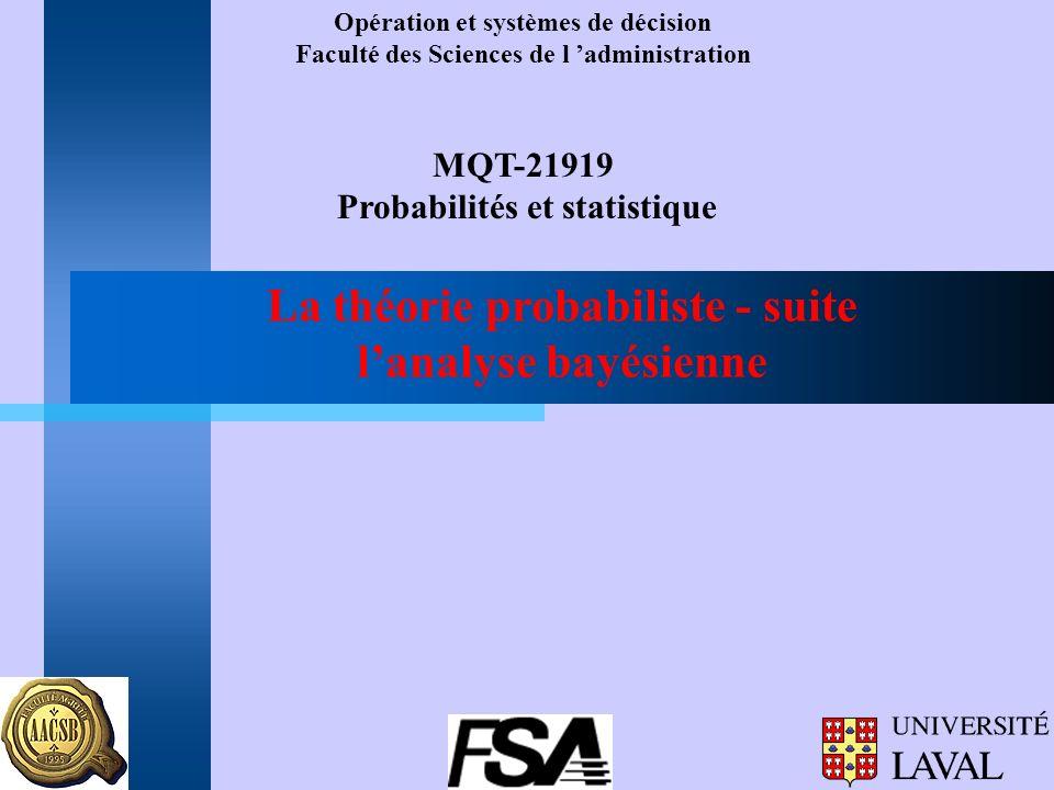 La théorie probabiliste - suite lanalyse bayésienne Opération et systèmes de décision Faculté des Sciences de l administration MQT-21919 Probabilités