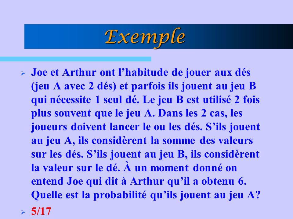 Exemple Joe et Arthur ont lhabitude de jouer aux dés (jeu A avec 2 dés) et parfois ils jouent au jeu B qui nécessite 1 seul dé. Le jeu B est utilisé 2