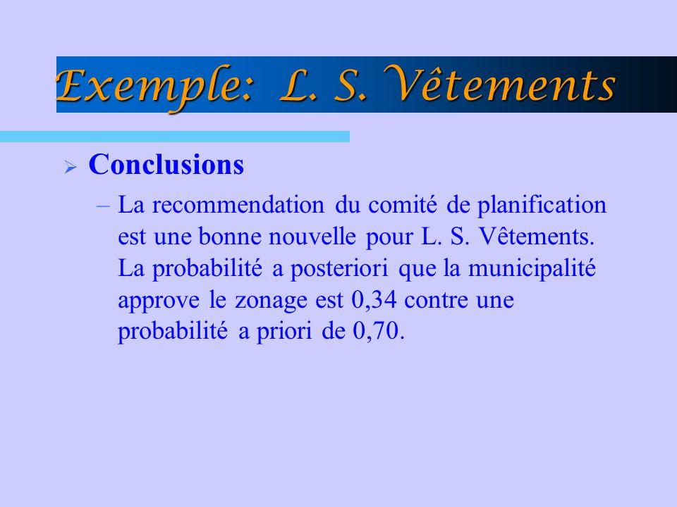 Exemple: L. S. Vêtements Conclusions –La recommendation du comité de planification est une bonne nouvelle pour L. S. Vêtements. La probabilité a poste