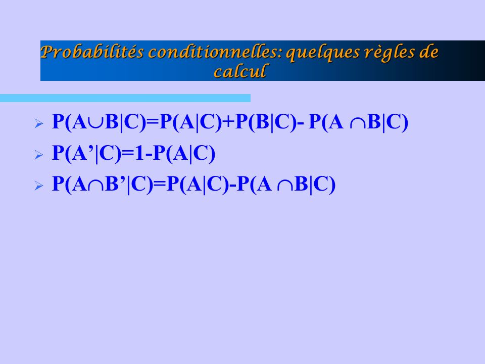 Probabilités conditionnelles: quelques règles de calcul P(A B|C)=P(A|C)+P(B|C)- P(A B|C) P(A|C)=1-P(A|C) P(A B|C)=P(A|C)-P(A B|C)