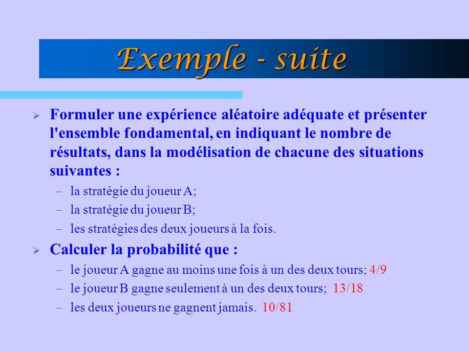 Exemple - suite Formuler une expérience aléatoire adéquate et présenter l'ensemble fondamental, en indiquant le nombre de résultats, dans la modélisat