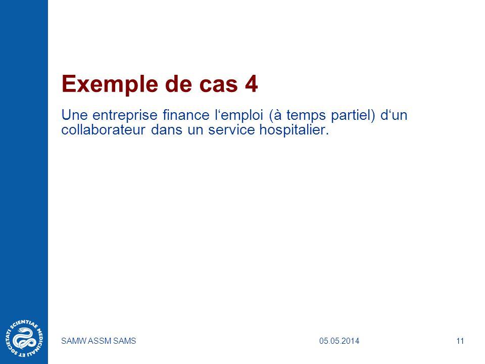 05.05.2014SAMW ASSM SAMS11 Exemple de cas 4 Une entreprise finance lemploi (à temps partiel) dun collaborateur dans un service hospitalier.
