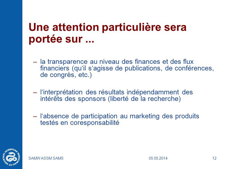 05.05.2014SAMW ASSM SAMS12 Une attention particulière sera portée sur... –la transparence au niveau des finances et des flux financiers (quil sagisse