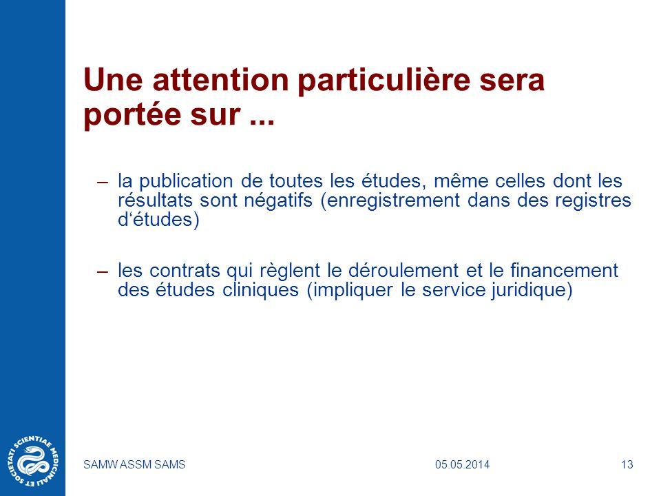05.05.2014SAMW ASSM SAMS13 Une attention particulière sera portée sur... –la publication de toutes les études, même celles dont les résultats sont nég