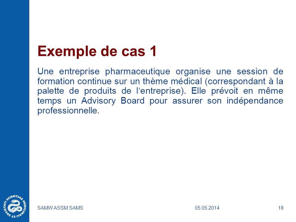 05.05.2014SAMW ASSM SAMS18 Exemple de cas 1 Une entreprise pharmaceutique organise une session de formation continue sur un thème médical (corresponda