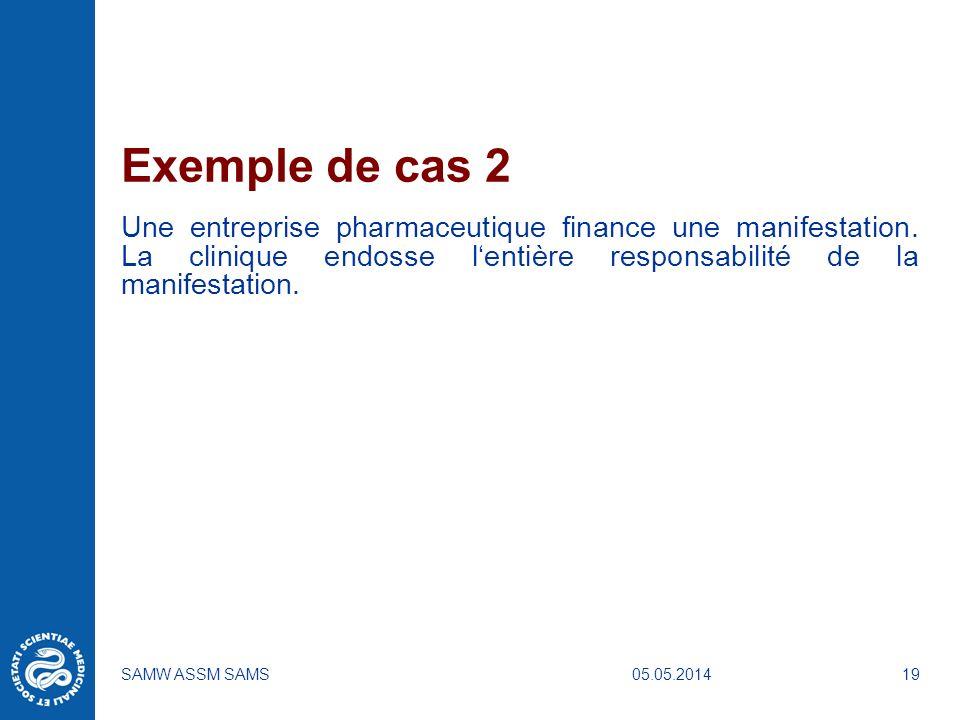 05.05.2014SAMW ASSM SAMS19 Exemple de cas 2 Une entreprise pharmaceutique finance une manifestation. La clinique endosse lentière responsabilité de la