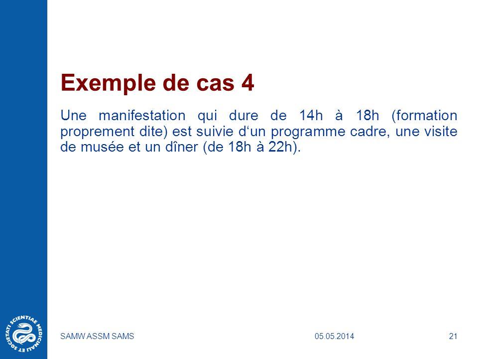 05.05.2014SAMW ASSM SAMS21 Exemple de cas 4 Une manifestation qui dure de 14h à 18h (formation proprement dite) est suivie dun programme cadre, une vi