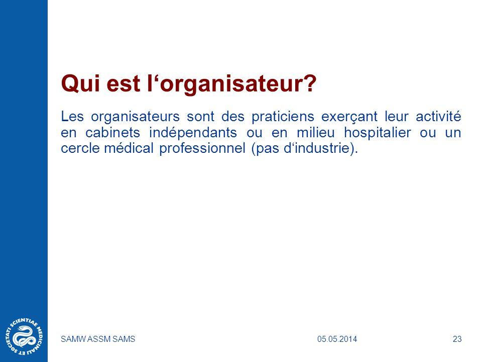 05.05.2014SAMW ASSM SAMS23 Qui est lorganisateur? Les organisateurs sont des praticiens exerçant leur activité en cabinets indépendants ou en milieu h