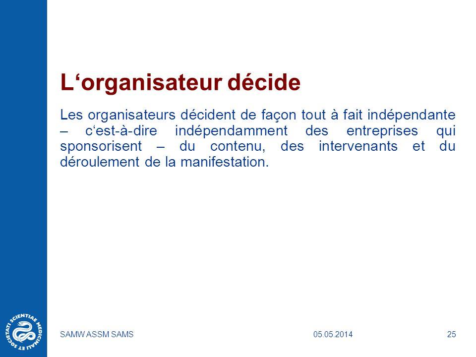 05.05.2014SAMW ASSM SAMS25 Lorganisateur décide Les organisateurs décident de façon tout à fait indépendante – cest-à-dire indépendamment des entrepri