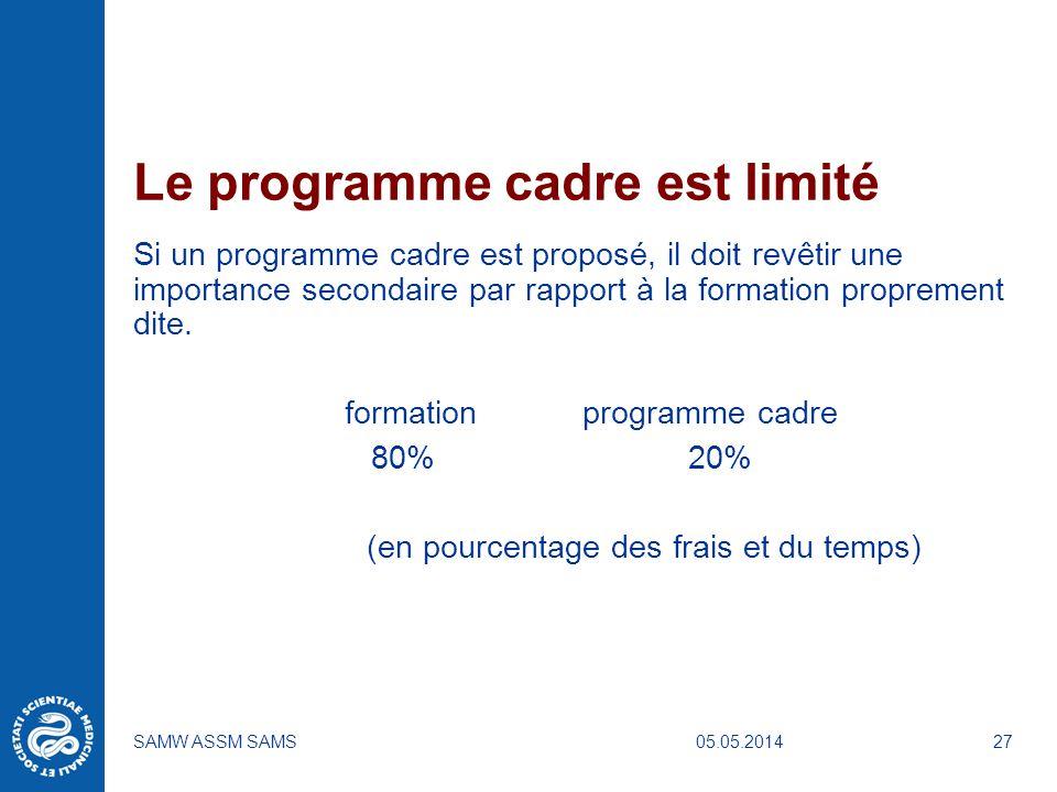 05.05.2014SAMW ASSM SAMS27 Le programme cadre est limité Si un programme cadre est proposé, il doit revêtir une importance secondaire par rapport à la