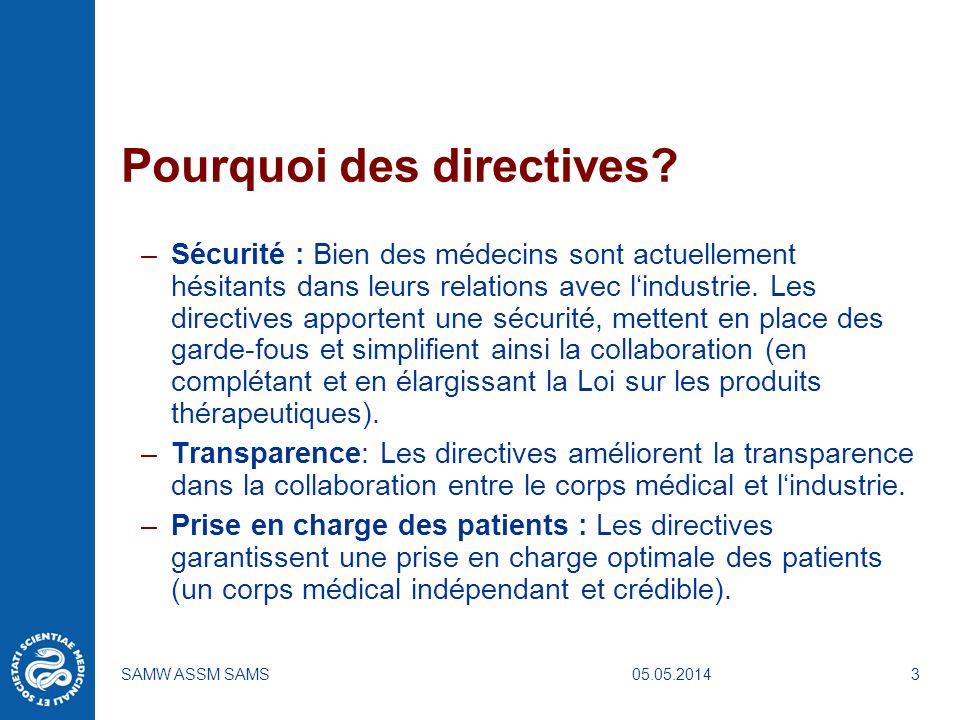 05.05.2014SAMW ASSM SAMS3 Pourquoi des directives? –Sécurité : Bien des médecins sont actuellement hésitants dans leurs relations avec lindustrie. Les