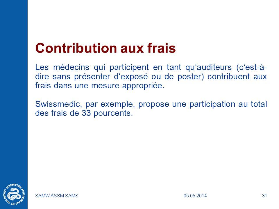 05.05.2014SAMW ASSM SAMS31 Contribution aux frais Les médecins qui participent en tant quauditeurs (cest-à- dire sans présenter dexposé ou de poster)