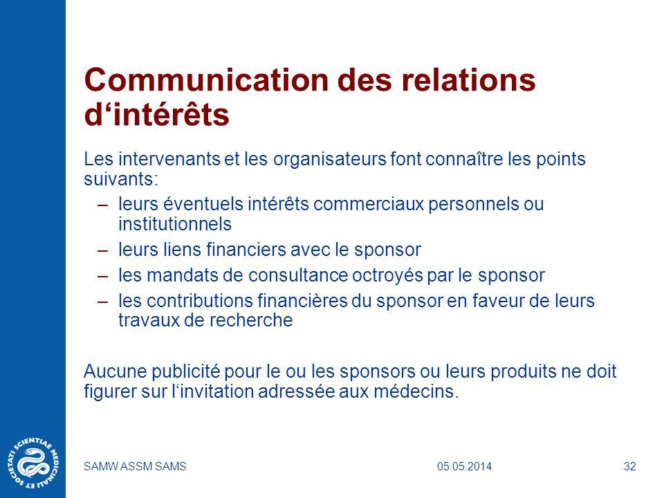 05.05.2014SAMW ASSM SAMS32 Communication des relations dintérêts Les intervenants et les organisateurs font connaître les points suivants: –leurs éven