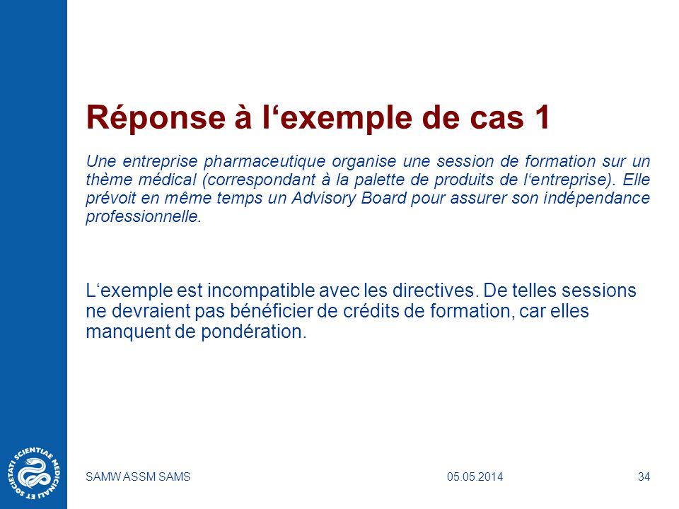 05.05.2014SAMW ASSM SAMS34 Réponse à lexemple de cas 1 Une entreprise pharmaceutique organise une session de formation sur un thème médical (correspon