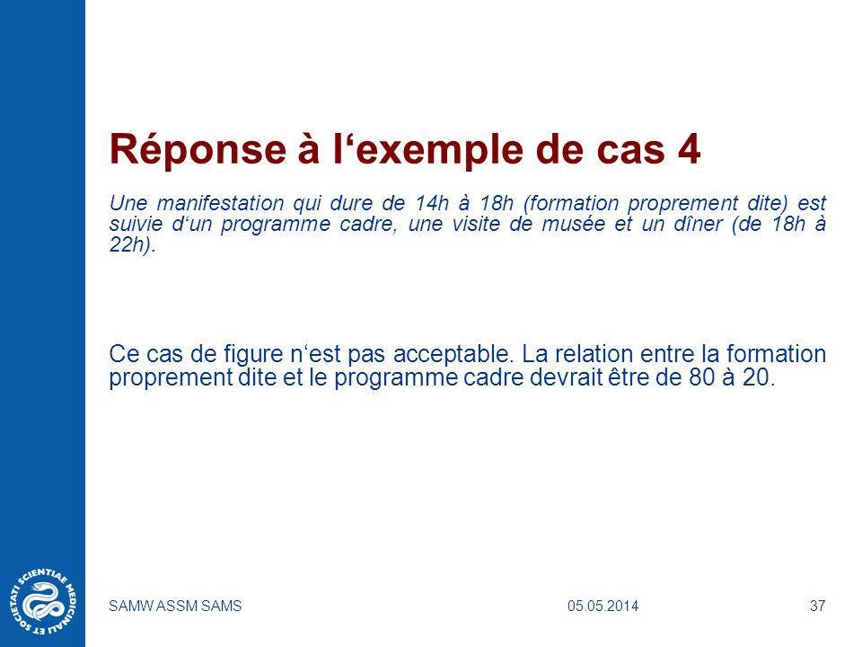 05.05.2014SAMW ASSM SAMS37 Réponse à lexemple de cas 4 Une manifestation qui dure de 14h à 18h (formation proprement dite) est suivie dun programme ca