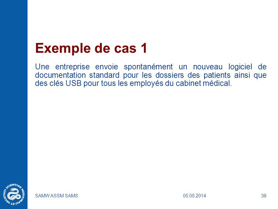05.05.2014SAMW ASSM SAMS39 Exemple de cas 1 Une entreprise envoie spontanément un nouveau logiciel de documentation standard pour les dossiers des pat