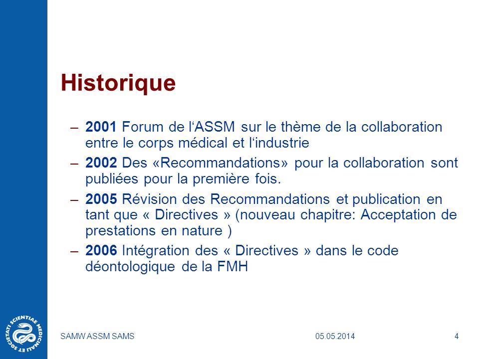 05.05.2014SAMW ASSM SAMS4 Historique –2001 Forum de lASSM sur le thème de la collaboration entre le corps médical et lindustrie –2002 Des «Recommandat