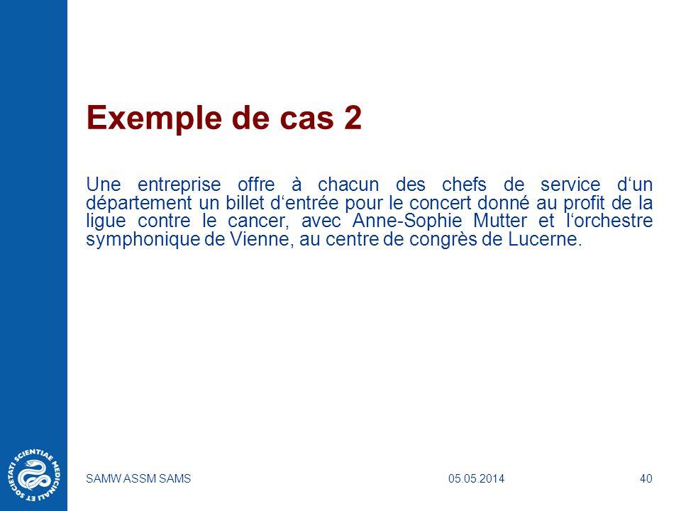 05.05.2014SAMW ASSM SAMS40 Exemple de cas 2 Une entreprise offre à chacun des chefs de service dun département un billet dentrée pour le concert donné