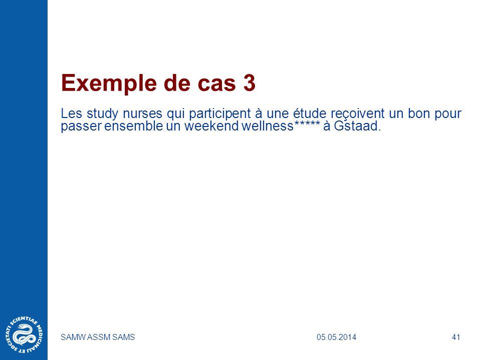 05.05.2014SAMW ASSM SAMS41 Exemple de cas 3 Les study nurses qui participent à une étude reçoivent un bon pour passer ensemble un weekend wellness****