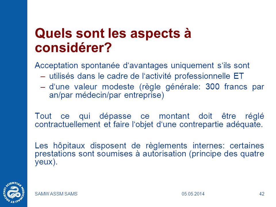 05.05.2014SAMW ASSM SAMS42 Quels sont les aspects à considérer? Acceptation spontanée davantages uniquement sils sont –utilisés dans le cadre de lacti