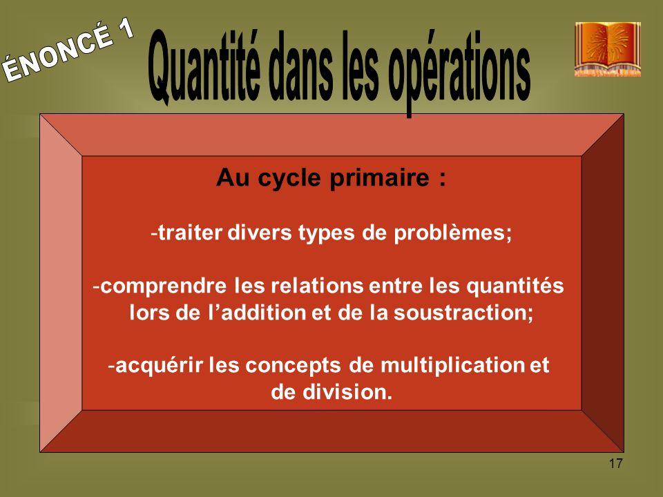 17 Au cycle primaire : -traiter divers types de problèmes; -comprendre les relations entre les quantités lors de laddition et de la soustraction; -acq
