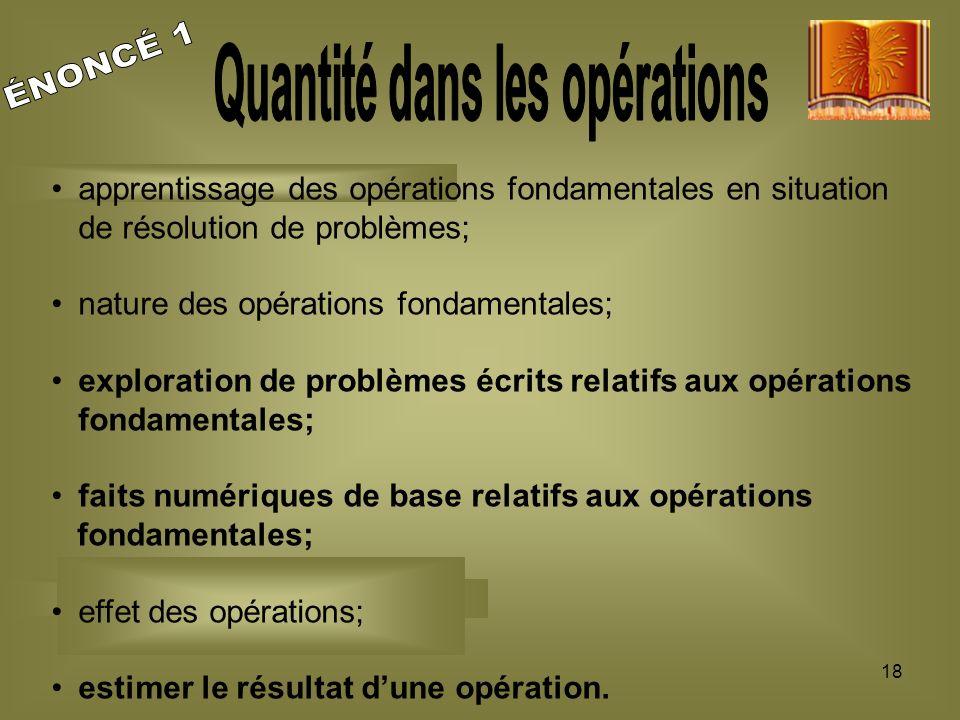 18 apprentissage des opérations fondamentales en situation de résolution de problèmes; nature des opérations fondamentales; exploration de problèmes é