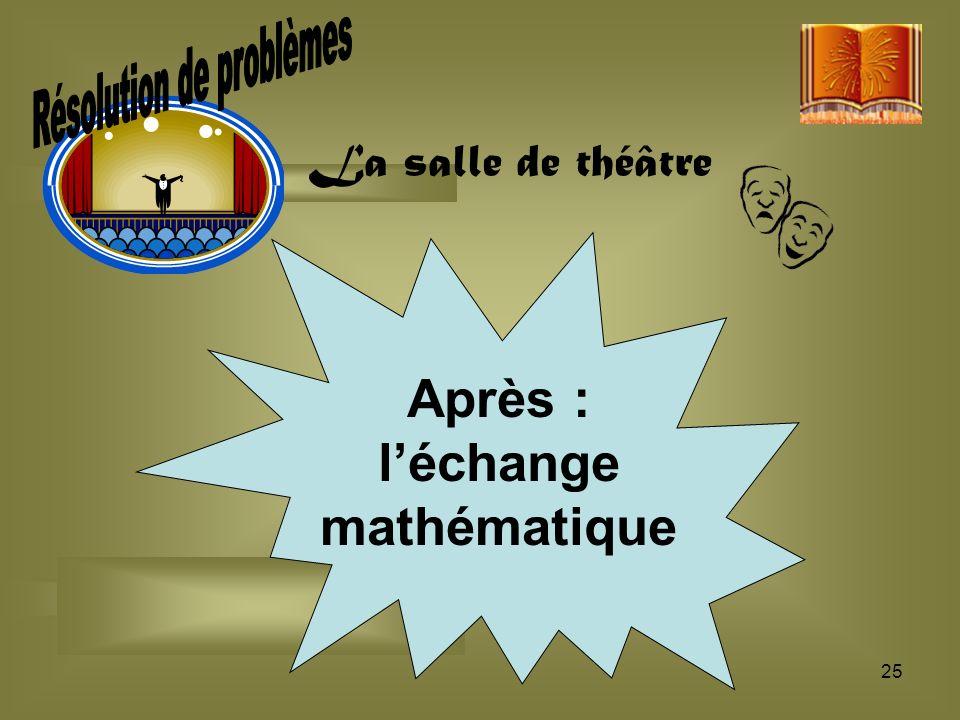 25 Après : léchange mathématique La salle de théâtre