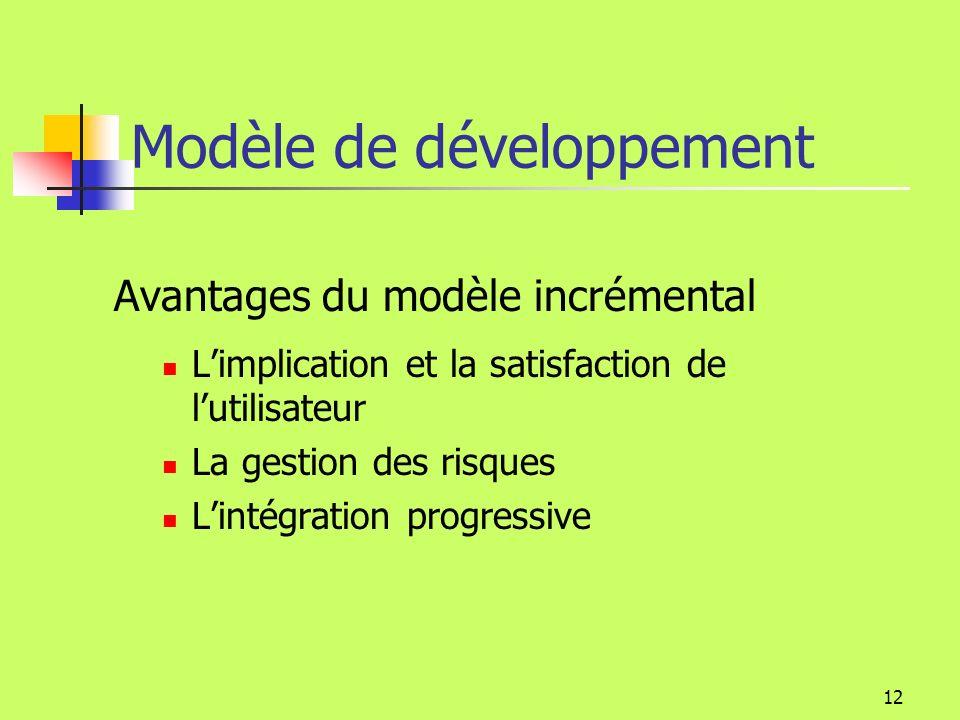 11 Modèle de développement Analyse du problème Conception de la solution Implémentation Déploiement Analyse des besoins Modèle en cascade Modèle incrémental Analyse du problème Analyse des besoins Implémentation Déploiement Conception de la solution retour