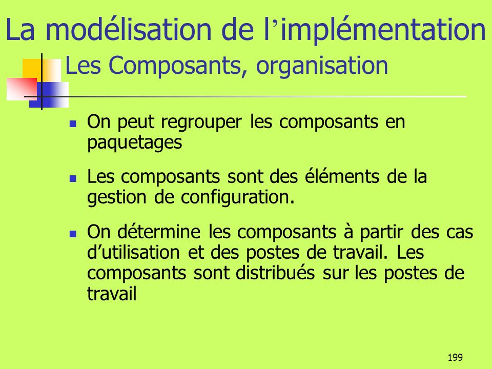 198 La modélisation de l implémentation Les Composants Les composants sont des éléments physiques comme les exécutables, les composants Com, les EJB,