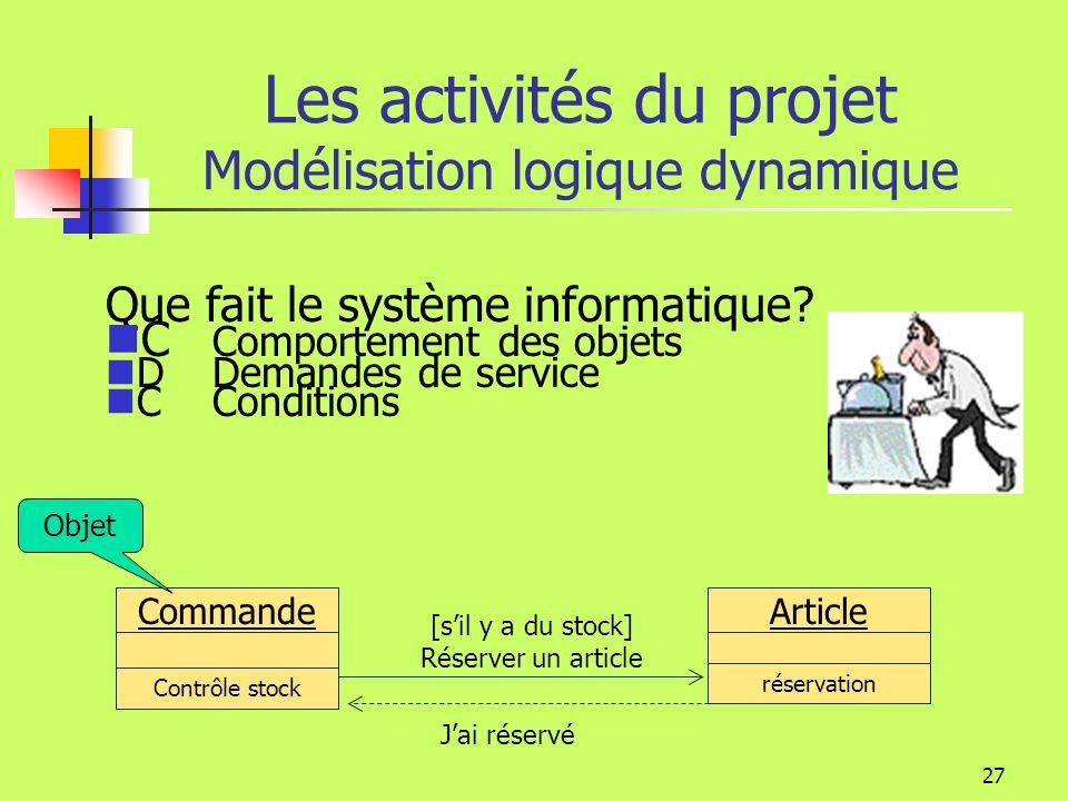 26 Les activités du projet Modélisation logique structurelle Architecture technique Le découpage du logiciel est représenté par des paquetages Les paquetages contiennent des classes, des composants ou dautres paquetages.