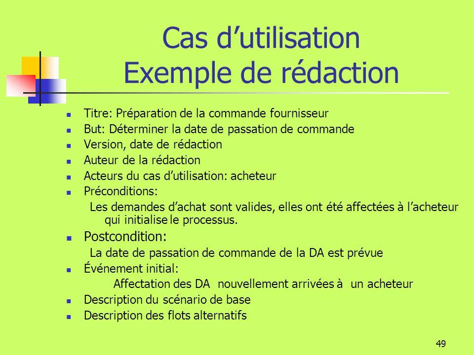 48 Cas dutilisation Chaque cas dutilisation est accompagné dun texte et éventuellement de diagrammes Ceux-ci expriment les exigences du client Les exi