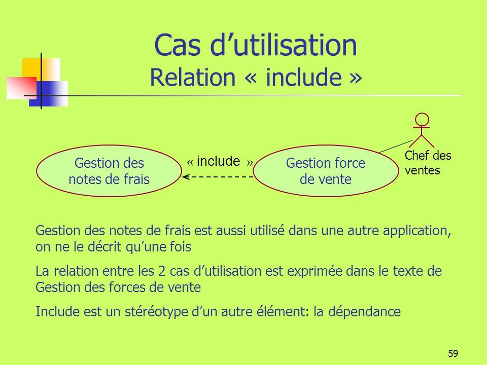58 Cas dutilisation Relation « include » Permet d identifier des sous-ensembles communs à plusieurs cas d utilisation Règlement cotisations comptable